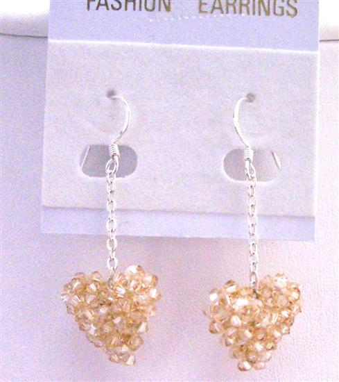 Golden Shadow PUffy Heart Earrings Genuine Swarovski Crystals Puffy Heart Earrings w/ Silver 92.5 Earrings