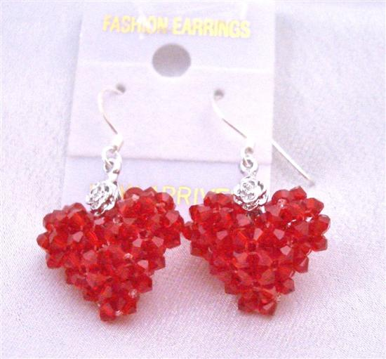 Passion Earrings Lite Siam Red Crystals Puffy Heart Earrings w/ Silver 92.5 Earrings