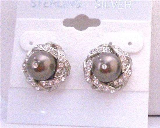 Swarovski Brown Pearls Stud Earrings w/ Surrounded Cubic Zircon Piearced Earrings