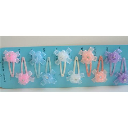 Organza Flower Handmade Fixed On Each Girls Hair Clip Assorted Colors