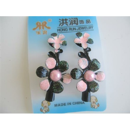 Floral Preety Girls Clamp Clip Pink Black