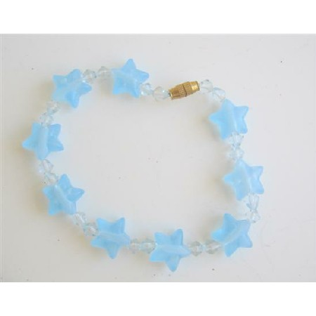 Girl Star Bracelet w/ Clear Simulated Crystals