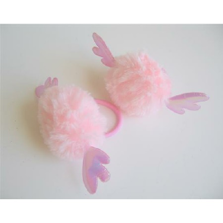 Pink Girls Hair Rubber Band Smooth Fluffy w/ Wings
