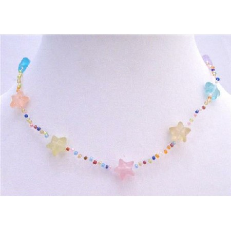 Multicolored Stars Beads Necklace Girls Jewelry