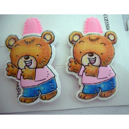 Addrable Cute Teddy Bear Clips Soft Padded Pink Hair Clip Pair