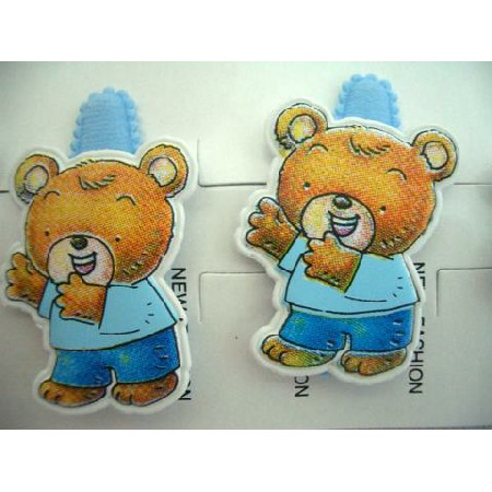 Whimsical Cute Teddy Bear Clips Soft Padded Blue Hair Clip Pair