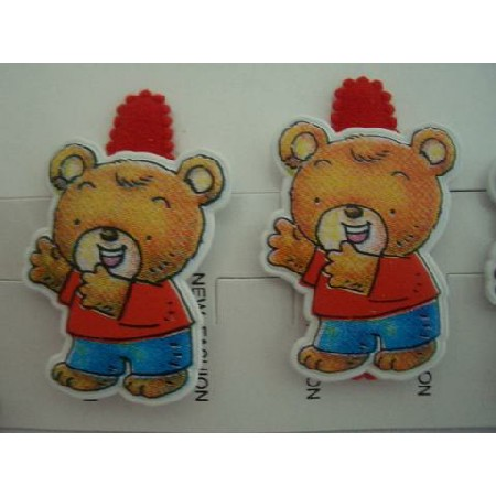 Cute Teddy Bear Clips Soft Padded Red Adorable Hair Clip Pair