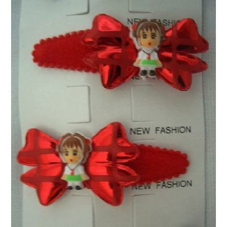 Cute Girl Bow Tender Soft Hair Clip Soft Padded Red Adorable Hair Clip