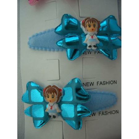 Adorable Girl Bow Tender Soft Hair Clip Soft Padded Blue Adorable Clip
