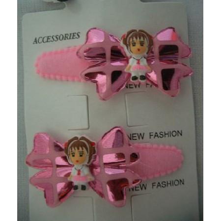 Girl Bow Tender Soft Hair Clip Soft Padded Pink Hair Clip Pair