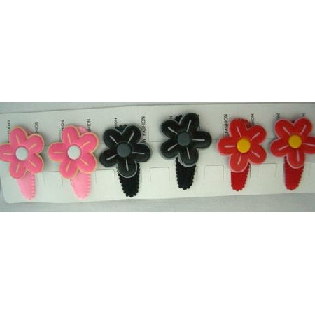 Cute Girl Assorted Flower Hair Clisp Soft Padded Red 3 Pairs Clip