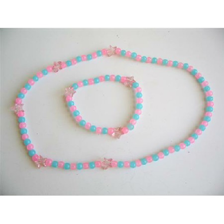 Pink Blue Beaded Stretchable Necklace & Bracelet Gift For Girls