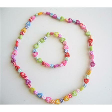 Heart Multicolored Beads Stretchable Necklace & Bracelet