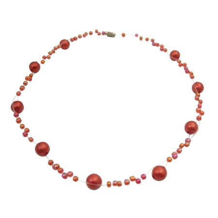 Classic Acrylic Red Maroon Beads & Black Beads