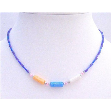 Girl Necklace Blue Beads & Cylindrical Necklace