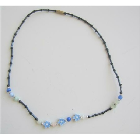 Black Pipe Beads Girls Necklace w/ Acrylic Flowers