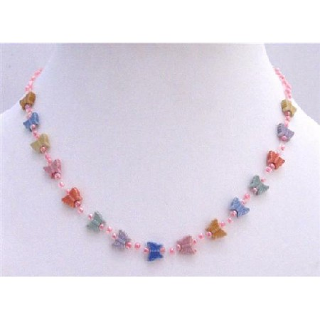 MultiColored Butterfly & Pink Beads Girls Necklace