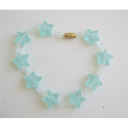 Green Stars Bracelet Girls Bracelet w/ Clear Simulated Crystals