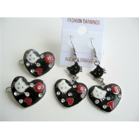 Heart Shaped Hello Kitty Girls Pair Of Hair Clip & Enameled Black