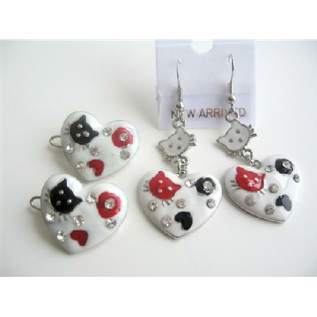 Hello Kitty Heart Hair Clip & Pair Of Earrings Enamel White Beautiful