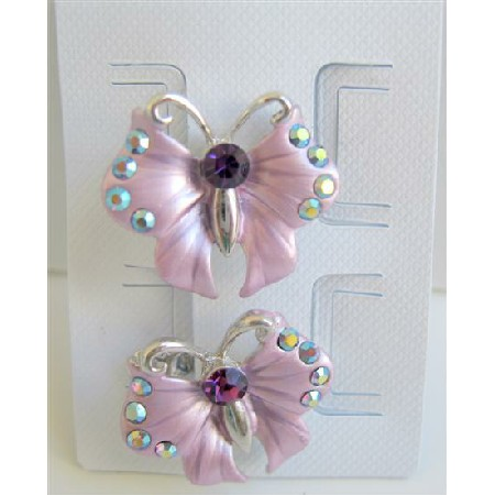 Girls Butterfly Hair Clip Sparkling Crystals