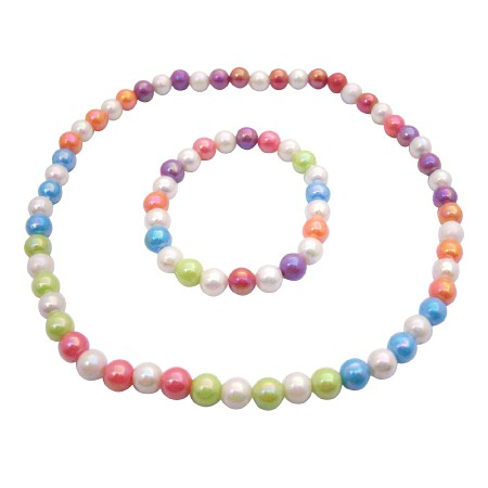 Summer Girls Jewelry Soft Multicolors Necklace & Bracelet Round Beads