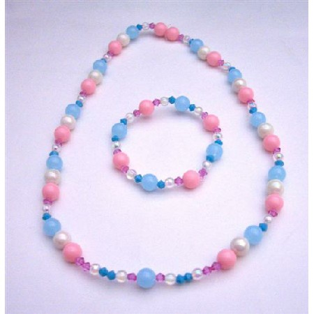 Crystals Round Beads Pink Blue Girls Stretchable Necklace & Bracelet