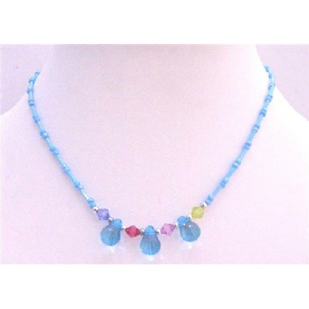 Aquamarine Beads w/ Simulated Multicolored Crystals Girls Jewelry