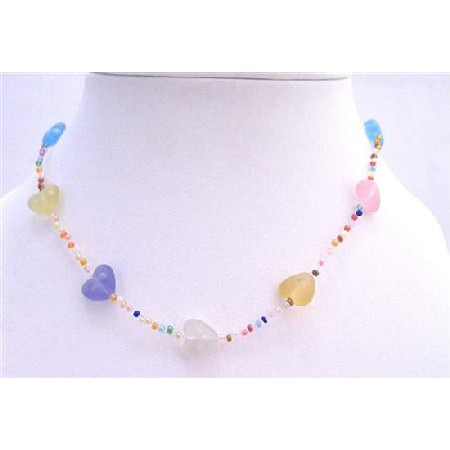 Multicolored Heart w/ Small Beads Necklace Girls Jewelry