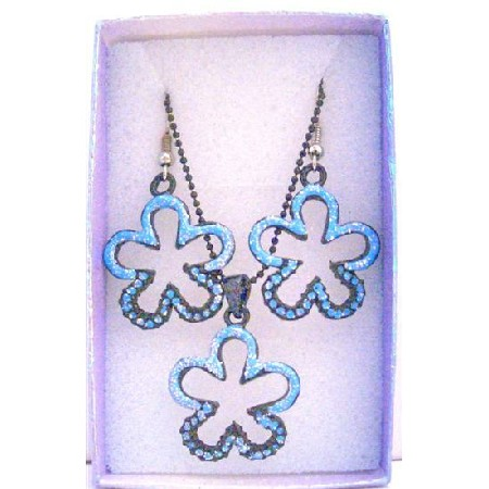 Flower Pendant Earrings Girls Gift Jewelry Set w/ Gift Box