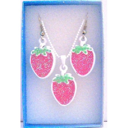 Strawberry Pendant Earrings Jewelry Set w/ Gift Box