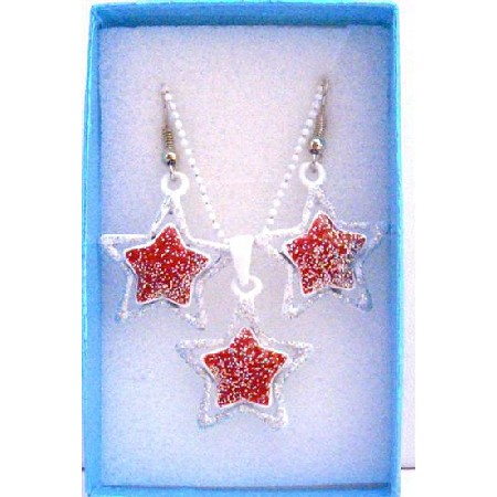 Star Pendant Earrings Jewelry Set Girls Gift Jewelry w/ Gift Box