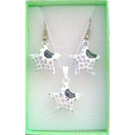 Star Fish Pendant & Earrings Girls Jewelry Set w/ Gift Box