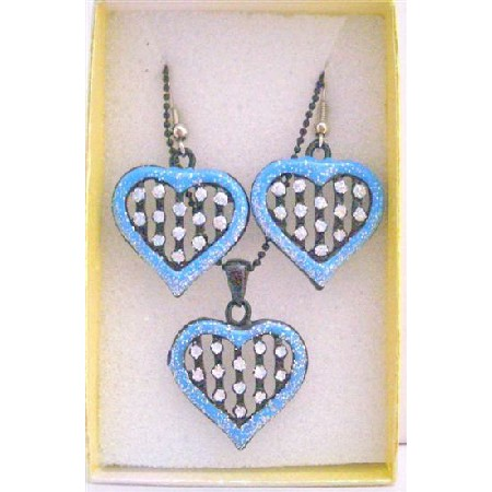 Girls Gift Item Jewelry Set Heart Pendant Necklace Set w/ Gift Box
