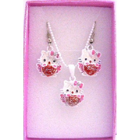 Hello Kitty Pendant Earrings Girls Gift Jewelry w/ Gift Box
