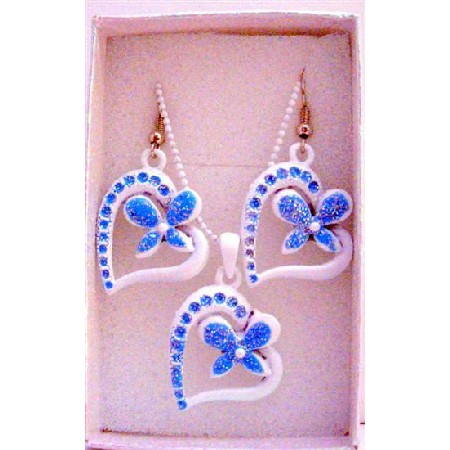 White Pendant Blue Flower Inside Heart Girls Jewelry Set w/ Gift Box