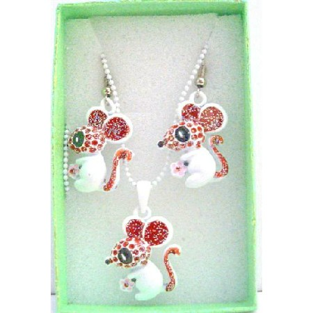Cute Rabbit Pendant & Earrings Girls Gift Jewelry w/ Gift Box