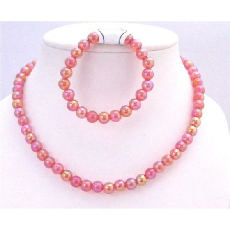 Shiny Red Beads Round Beads Stretchable Necklace & Bracelet Girls Gift
