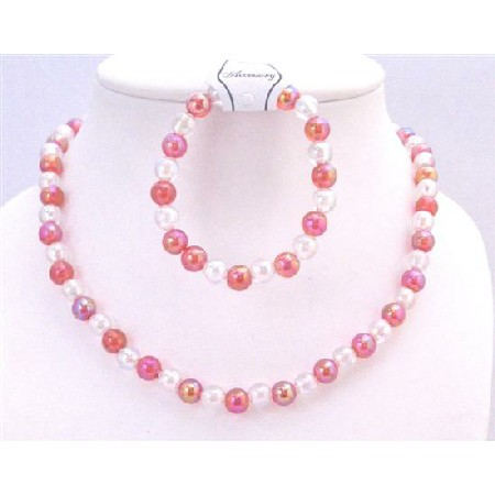 Girls Fashionable Jewelry Pink & White Round Beads Necklace Bracelet
