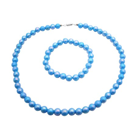 Shinny Turquoise Beads Girls Return Gift Affordable Necklace Bracelet