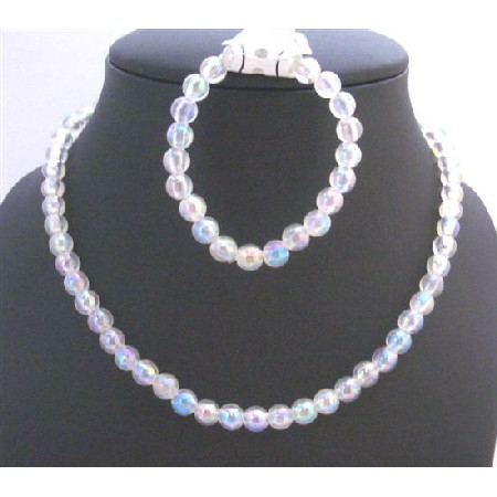 Pure White Round Bead Necklace Bracelet Perfect For Girls Return Gift