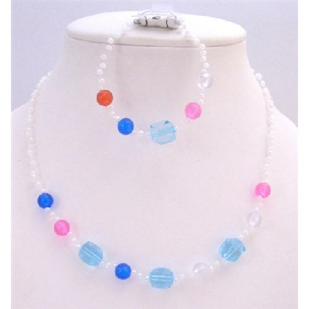 Girls Fancy Beads Small Round White Beads Red Blue Pink Gift Jewelry
