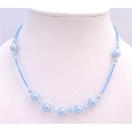 Blue Aquamarine Beaded Girls Necklace Round Bead Dollar Gift Necklace