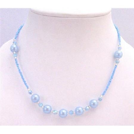 Blue Aquamarine Beaded Girls Necklace Round Bead Dollar Gift Necklace