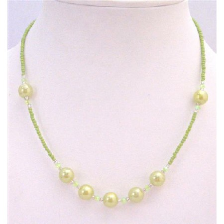 Girls Jewelry Olivine Beaded Tiny Big Necklace Dollar Necklace Jewelry