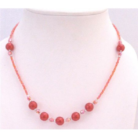 Passionate Red Beaded Necklace Affordable Girl Necklace Dollar Jewelry