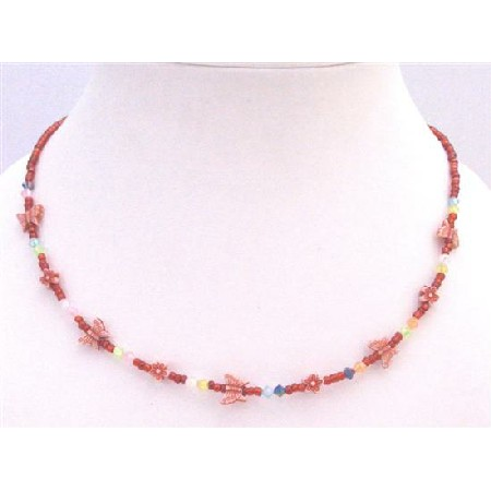 Red Beaded Necklace w/ Tiny Flowers & Butterfly Girls Necklace Gift