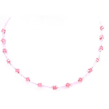 Multicolored Flower Beads Necklace Girls Affordable Dollar Necklace