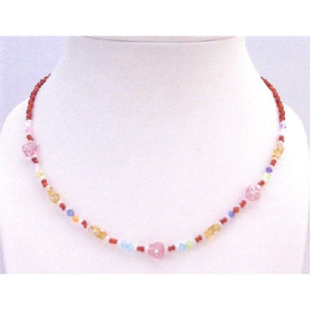 Fancy Girls Necklace Red Tiny Beads Girls Gift Necklace Only for $1