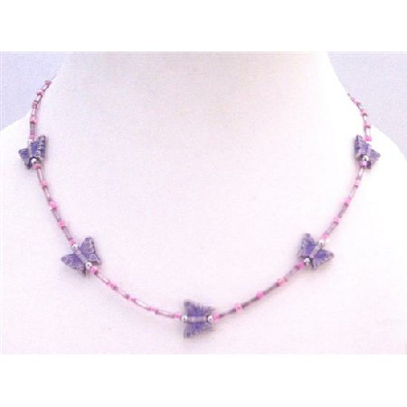Purple Butterfly Cute Girls Necklace Affordable Dollar Necklace